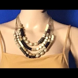Jewelry - Brown, Gold and White Beaded Necklace